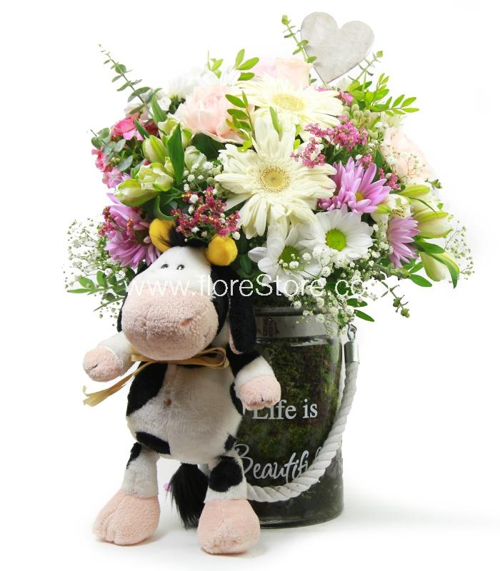 flores con vaquita