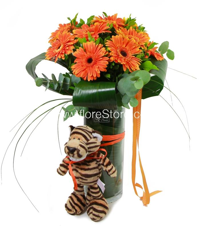 flores con muñeco tigre