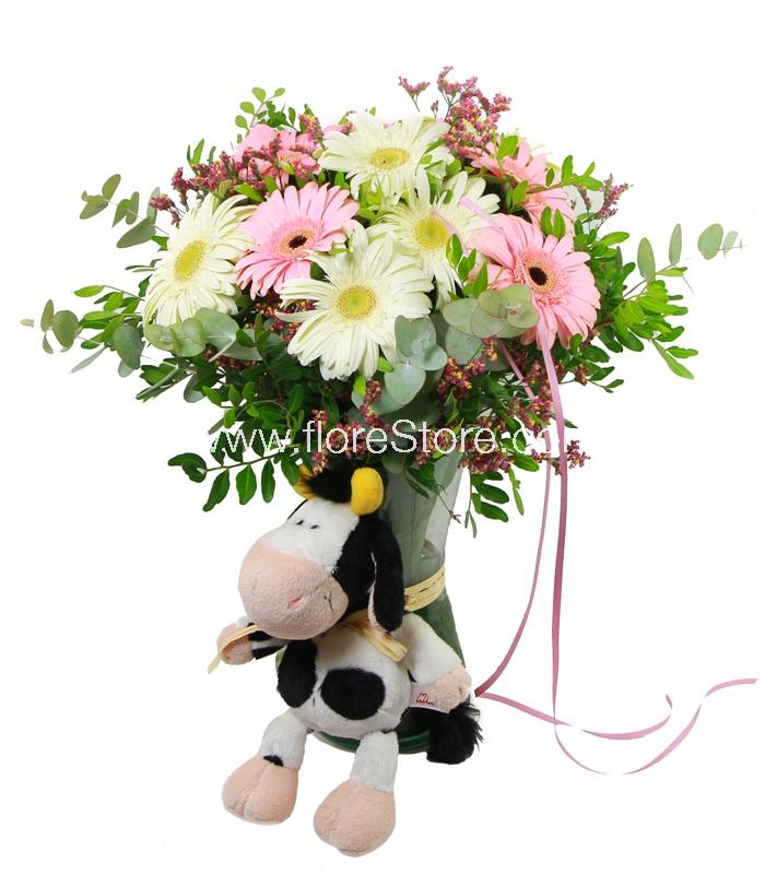 flores con muñeco vaquita