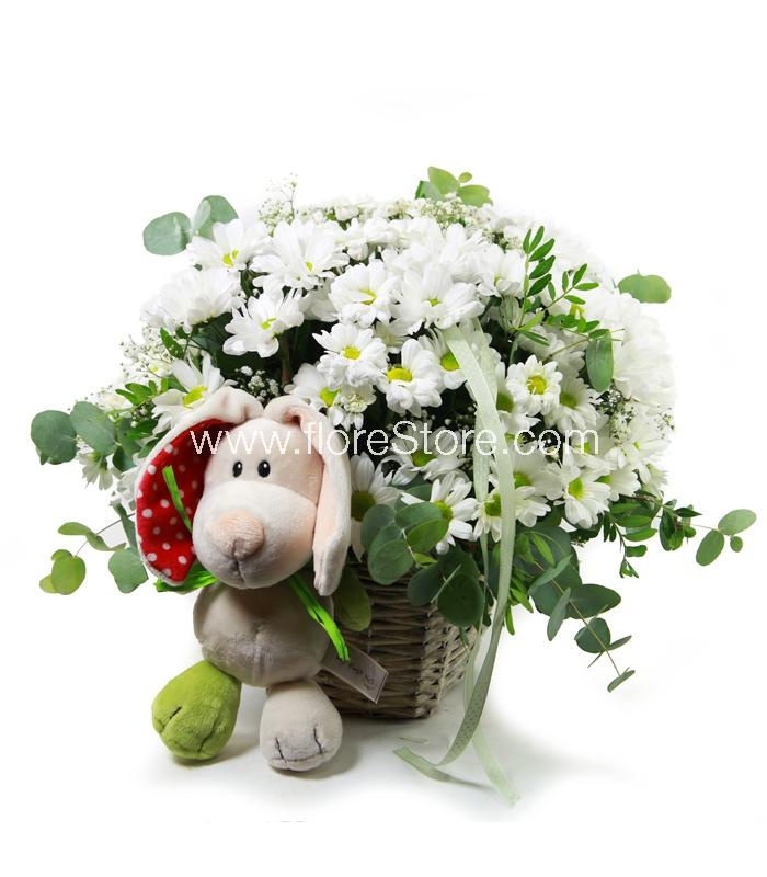 flores con muñeco
