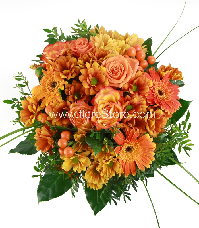 ramo de flores naranjas